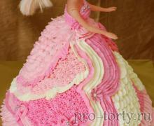 торт кукла Барби крем