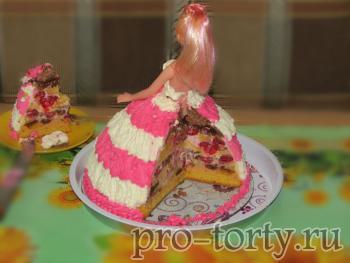 торт кукла Барби в разрезе фото