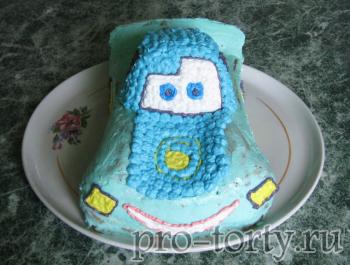 украшение кремом торта машинка